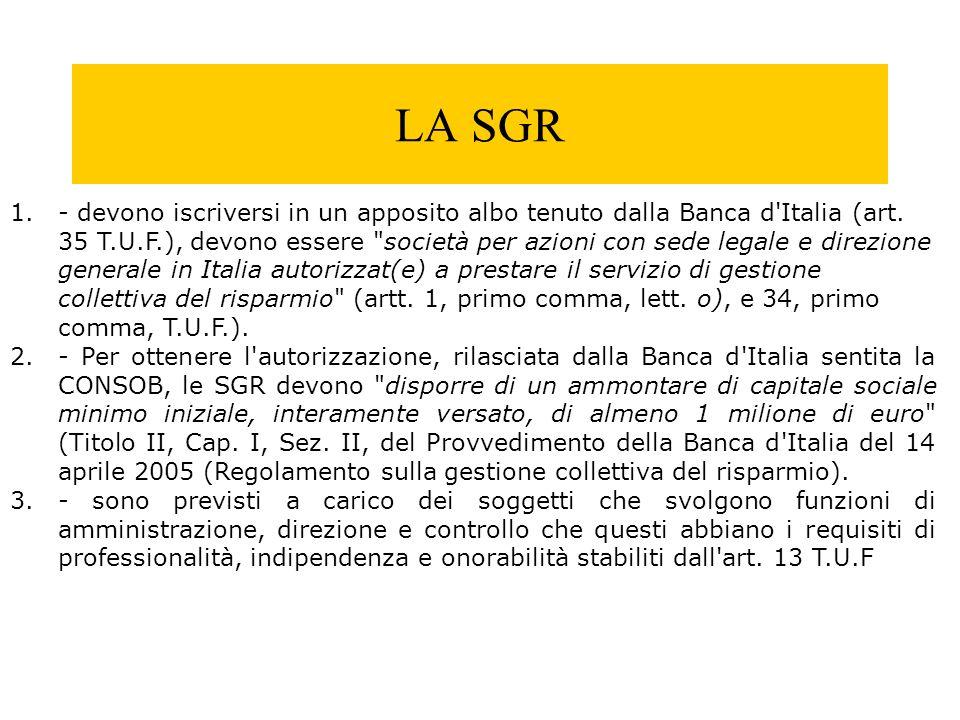 LA SGR 1.- devono iscriversi in un apposito albo tenuto dalla Banca d'Italia (art. 35 T.U.F.), devono essere