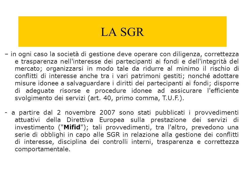 LA SGR – in ogni caso la società di gestione deve operare con diligenza, correttezza e trasparenza nell'interesse dei partecipanti ai fondi e dell'int