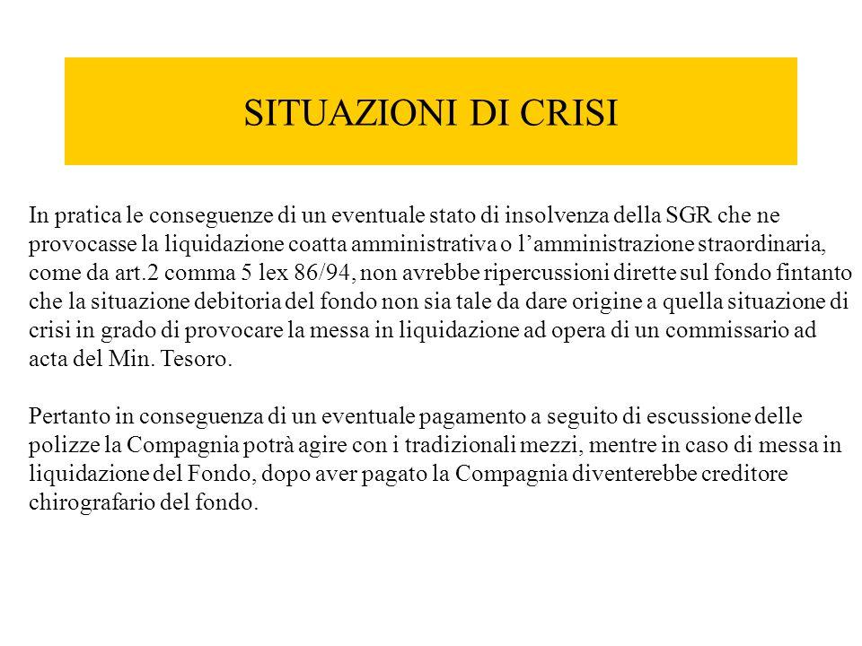 SITUAZIONI DI CRISI In pratica le conseguenze di un eventuale stato di insolvenza della SGR che ne provocasse la liquidazione coatta amministrativa o