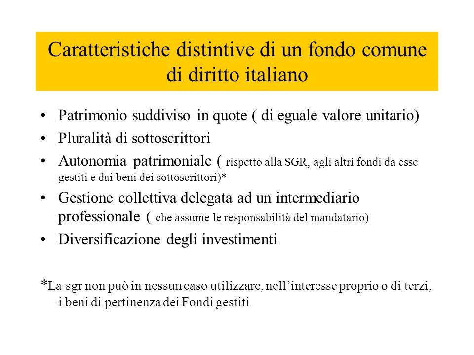Caratteristiche distintive di un fondo comune di diritto italiano Patrimonio suddiviso in quote ( di eguale valore unitario) Pluralità di sottoscritto