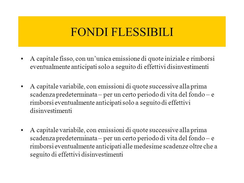 FONDI FLESSIBILI A capitale fisso, con un'unica emissione di quote iniziale e rimborsi eventualmente anticipati solo a seguito di effettivi disinvesti