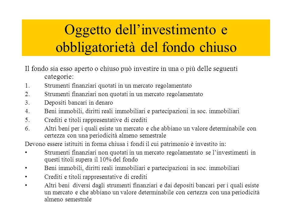 Oggetto dell'investimento e obbligatorietà del fondo chiuso Il fondo sia esso aperto o chiuso può investire in una o più delle seguenti categorie: 1.S