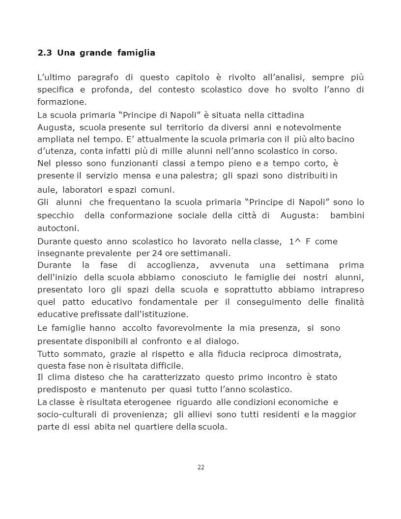 22 2.3 Una grande famiglia L'ultimo paragrafo di questo capitolo è rivolto all'analisi, sempre più specifica e profonda, del contesto scolastico dove ho svolto l'anno di formazione.