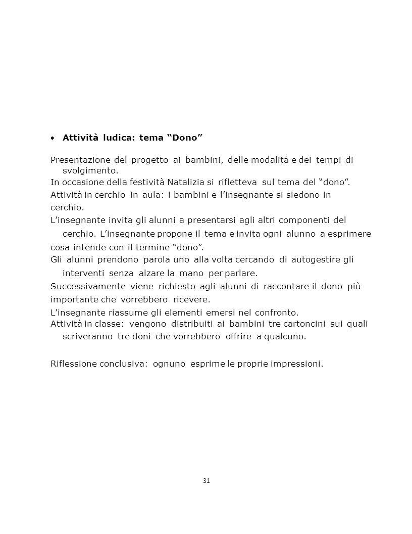 31 Attività ludica: tema Dono Presentazione del progetto ai bambini, delle modalità e dei tempi di svolgimento.