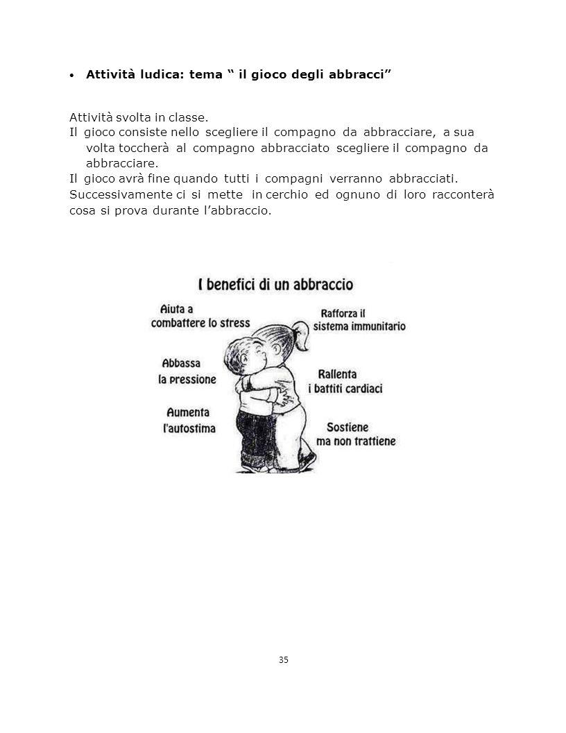  Attività ludica: tema il gioco degli abbracci Attività svolta in classe.