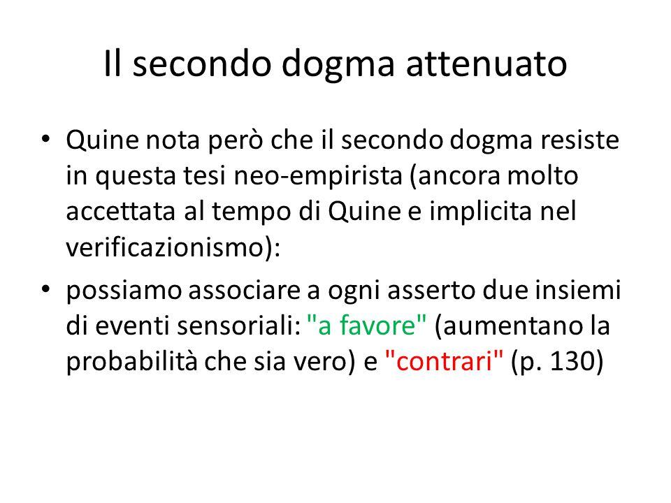 Il secondo dogma attenuato Quine nota però che il secondo dogma resiste in questa tesi neo-empirista (ancora molto accettata al tempo di Quine e impli