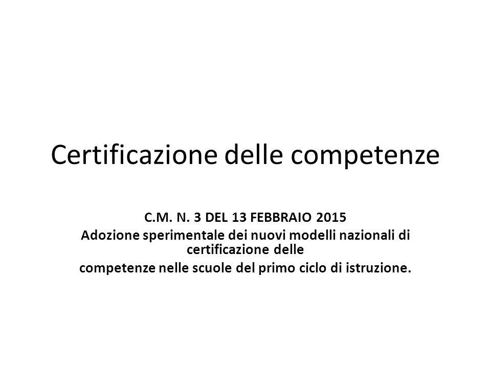 Certificazione delle competenze C.M. N. 3 DEL 13 FEBBRAIO 2015 Adozione sperimentale dei nuovi modelli nazionali di certificazione delle competenze ne
