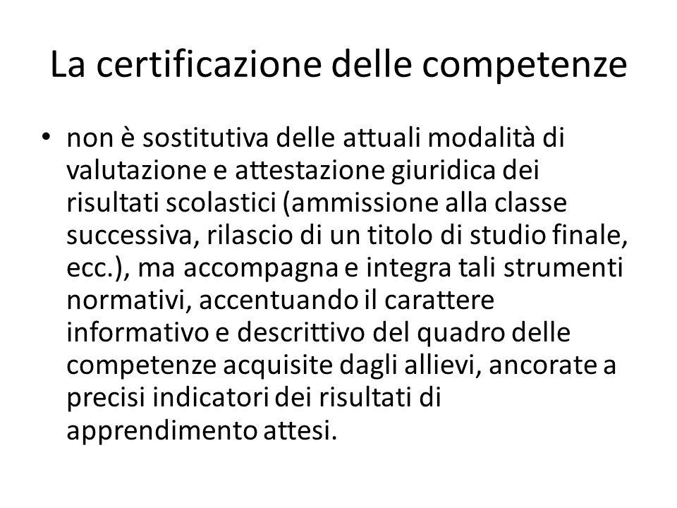 La certificazione delle competenze non è sostitutiva delle attuali modalità di valutazione e attestazione giuridica dei risultati scolastici (ammissio