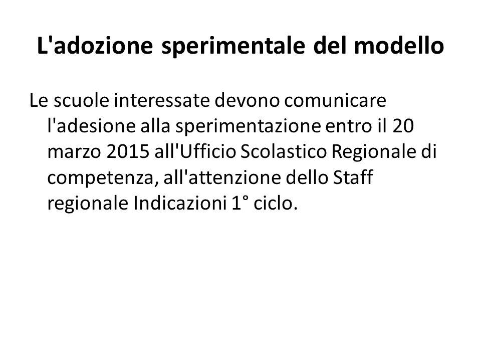 L'adozione sperimentale del modello Le scuole interessate devono comunicare l'adesione alla sperimentazione entro il 20 marzo 2015 all'Ufficio Scolast