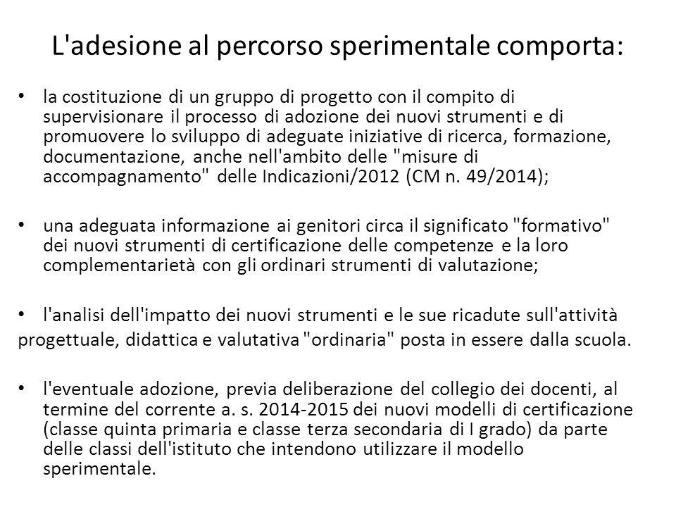 L'adesione al percorso sperimentale comporta: la costituzione di un gruppo di progetto con il compito di supervisionare il processo di adozione dei nu