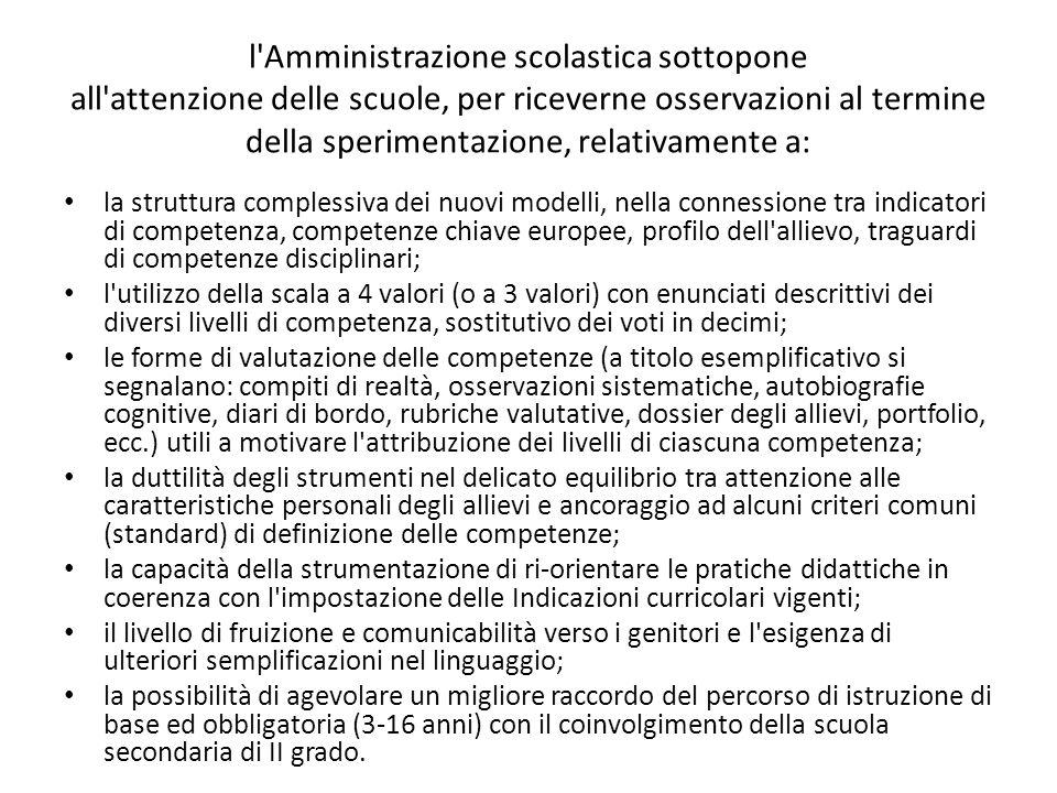 l'Amministrazione scolastica sottopone all'attenzione delle scuole, per riceverne osservazioni al termine della sperimentazione, relativamente a: la s