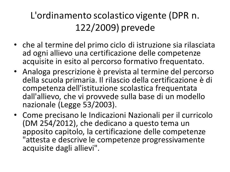 L'ordinamento scolastico vigente (DPR n. 122/2009) prevede che al termine del primo ciclo di istruzione sia rilasciata ad ogni allievo una certificazi