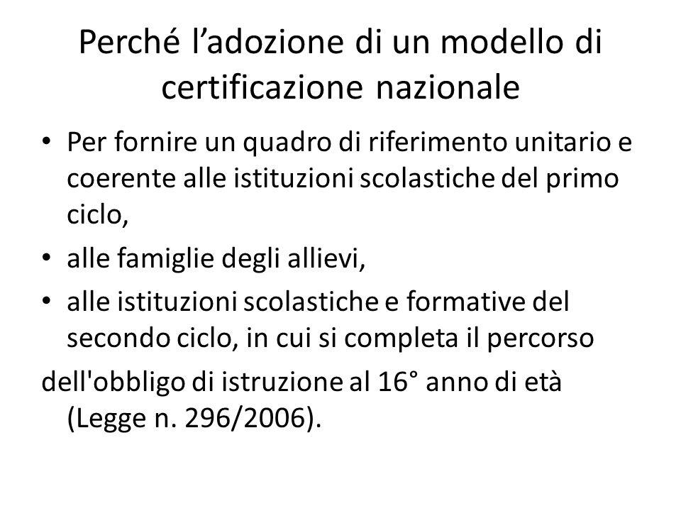Perché l'adozione di un modello di certificazione nazionale Per fornire un quadro di riferimento unitario e coerente alle istituzioni scolastiche del