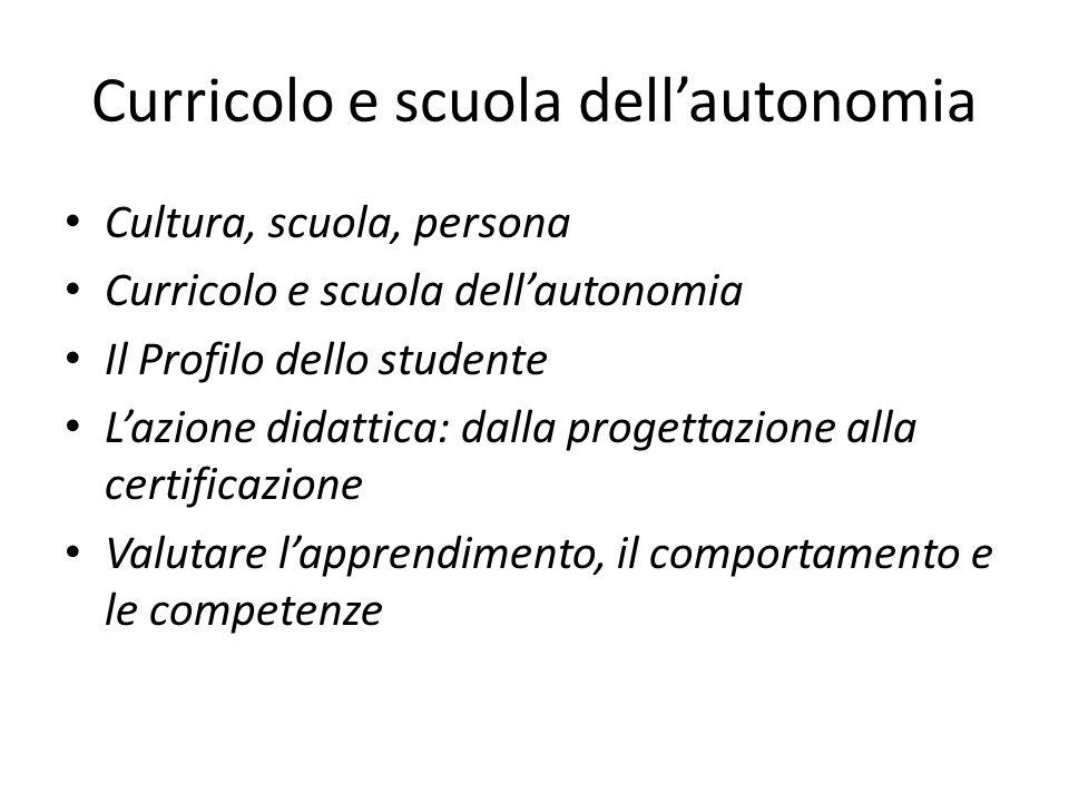 Curricolo e scuola dell'autonomia Cultura, scuola, persona Curricolo e scuola dell'autonomia Il Profilo dello studente L'azione didattica: dalla proge