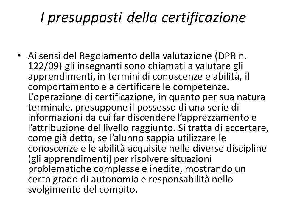 I presupposti della certificazione Ai sensi del Regolamento della valutazione (DPR n. 122/09) gli insegnanti sono chiamati a valutare gli apprendiment