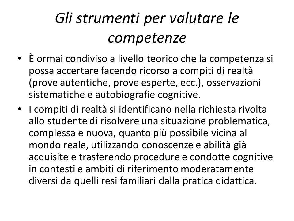 Gli strumenti per valutare le competenze È ormai condiviso a livello teorico che la competenza si possa accertare facendo ricorso a compiti di realtà