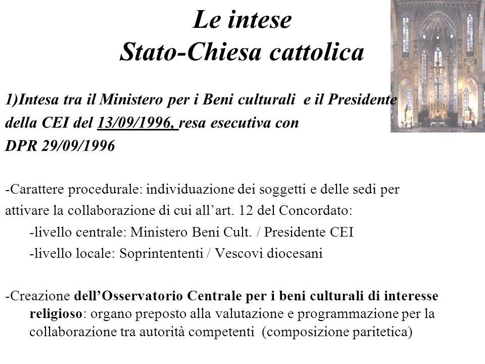 Le intese Stato-Chiesa cattolica 1)Intesa tra il Ministero per i Beni culturali e il Presidente della CEI del 13/09/1996, resa esecutiva con DPR 29/09