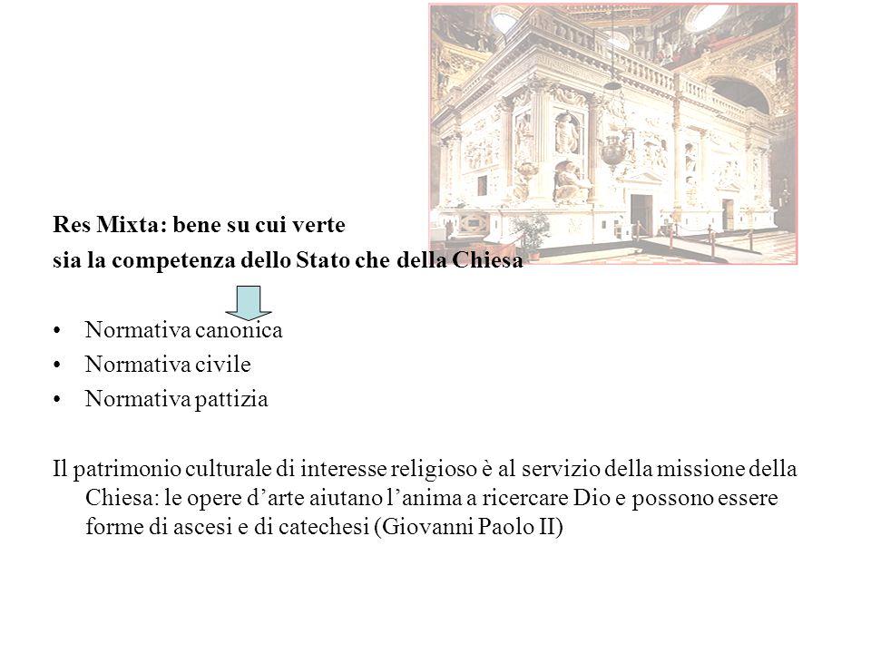 Res Mixta: bene su cui verte sia la competenza dello Stato che della Chiesa Normativa canonica Normativa civile Normativa pattizia Il patrimonio cultu