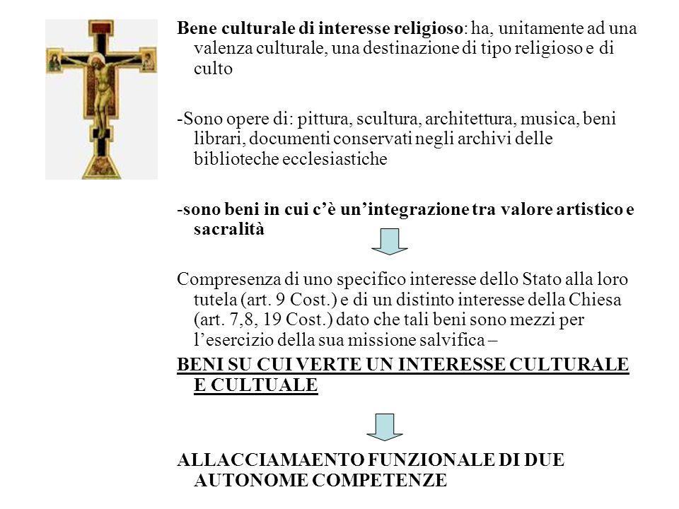 Bene culturale di interesse religioso: ha, unitamente ad una valenza culturale, una destinazione di tipo religioso e di culto -Sono opere di: pittura,