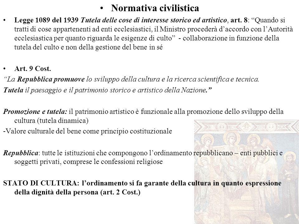 """Normativa civilistica Legge 1089 del 1939 Tutela delle cose di interesse storico ed artistico, art. 8: """"Quando si tratti di cose appartenenti ad enti"""