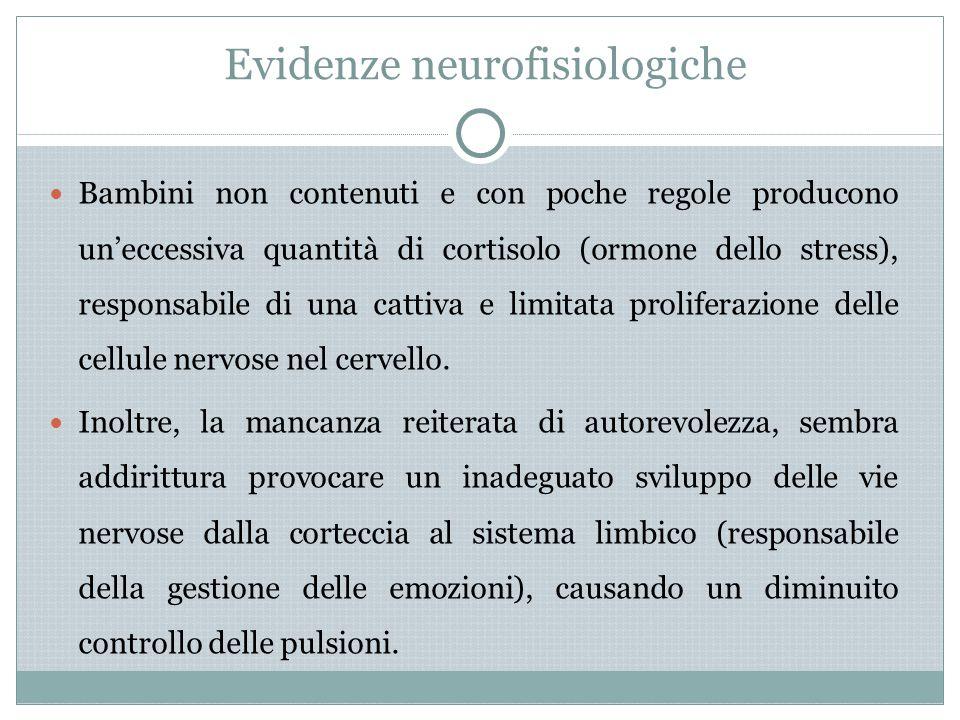 Evidenze neurofisiologiche Bambini non contenuti e con poche regole producono un'eccessiva quantità di cortisolo (ormone dello stress), responsabile d