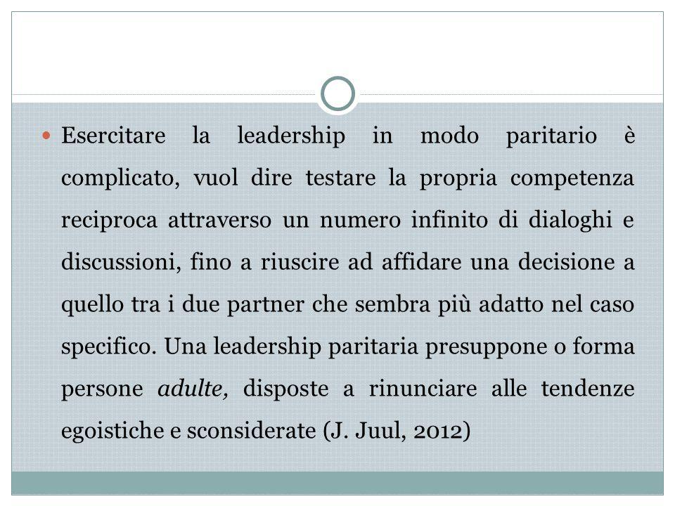 Esercitare la leadership in modo paritario è complicato, vuol dire testare la propria competenza reciproca attraverso un numero infinito di dialoghi e