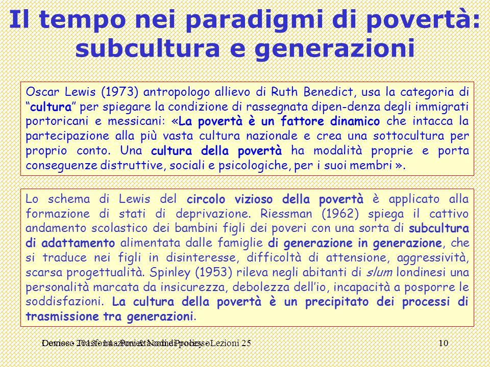 Demos - Trasformazioni & Nodi di policy - Lezioni 2510 Il tempo nei paradigmi di povertà: subcultura e generazioni Oscar Lewis (1973) antropologo alli