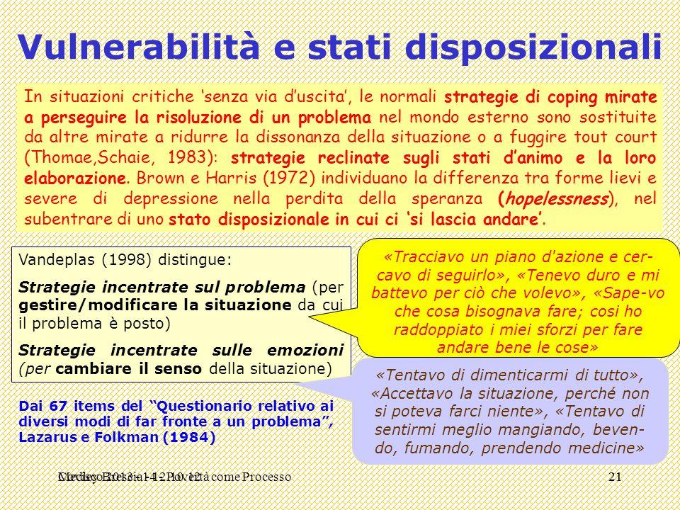 Medley Brescia - 12.10.1221 Vulnerabilità e stati disposizionali In situazioni critiche 'senza via d'uscita', le normali strategie di coping mirate a