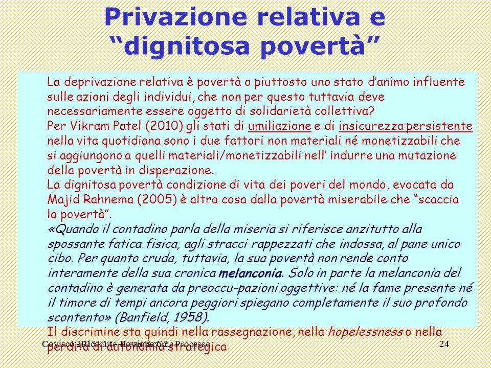 """Covisco - Ricadute - Lezione C224 Privazione relativa e """"dignitosa povertà"""" La deprivazione relativa è povertà o piuttosto uno stato d'animo influente"""