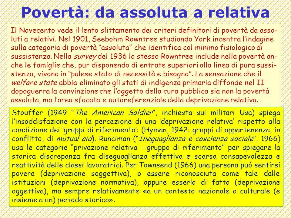 Covisco 2013 - 13 - Povertà come Situazione3 Povertà: da assoluta a relativa Il Novecento vede il lento slittamento dei criteri definitori di povertà