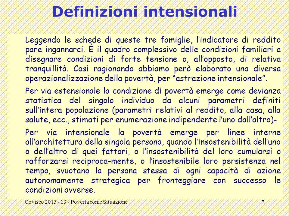 Covisco 2013 - 13 - Povertà come Situazione7 Definizioni intensionali Leggendo le schede di queste tre famiglie, l'indicatore di reddito pare ingannar