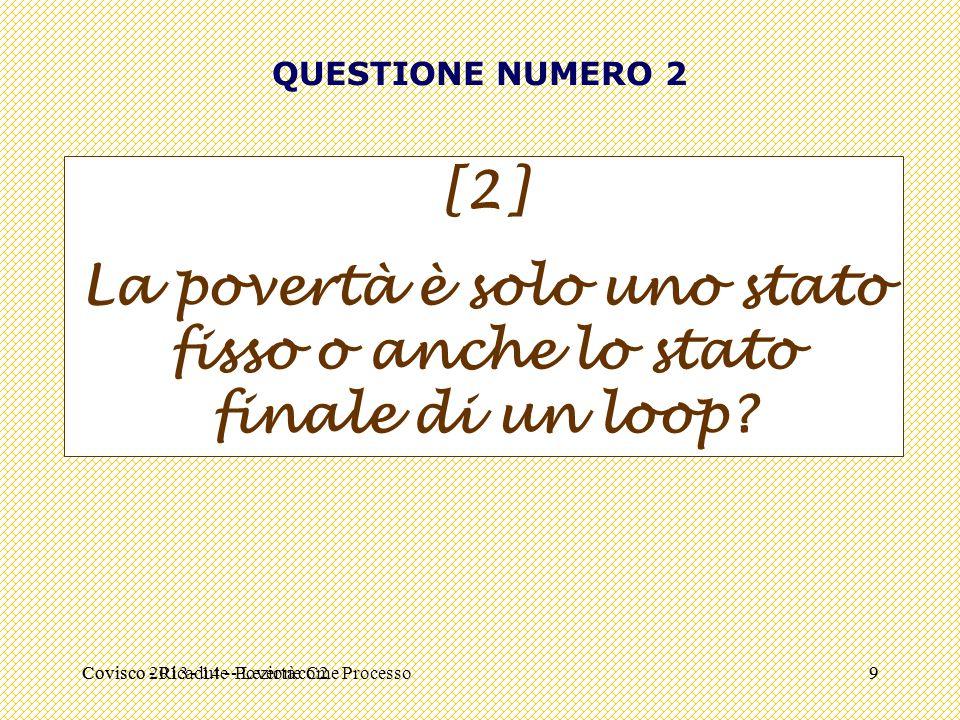 Covisco - Ricadute - Lezione C29 QUESTIONE NUMERO 2 [2] La povertà è solo uno stato fisso o anche lo stato finale di un loop? Covisco 2013 - 14 - Pove