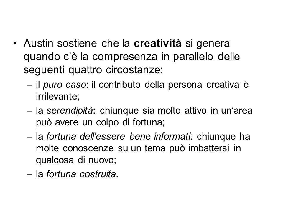 Austin sostiene che la creatività si genera quando c'è la compresenza in parallelo delle seguenti quattro circostanze: –il puro caso: il contributo de