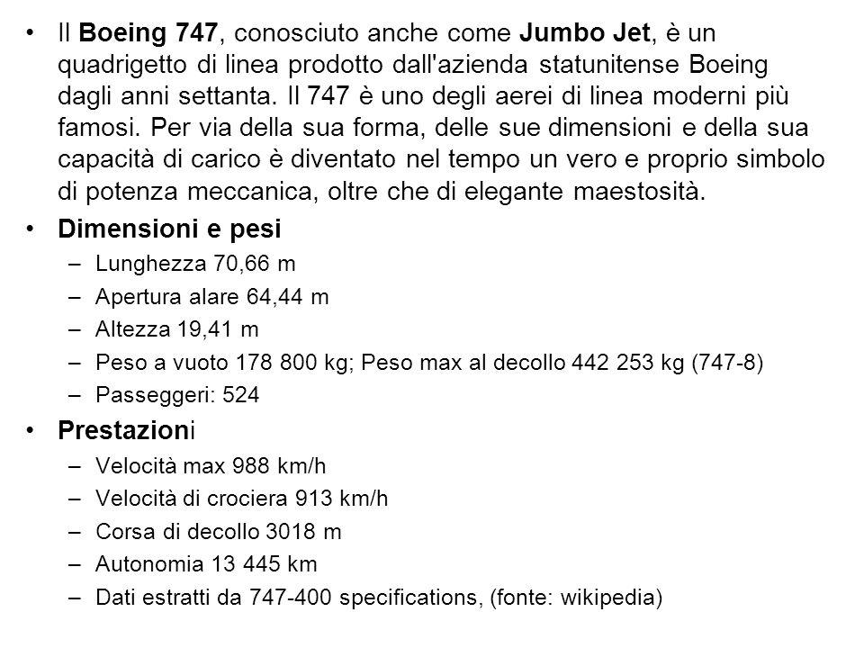 Il Boeing 747, conosciuto anche come Jumbo Jet, è un quadrigetto di linea prodotto dall'azienda statunitense Boeing dagli anni settanta. Il 747 è uno