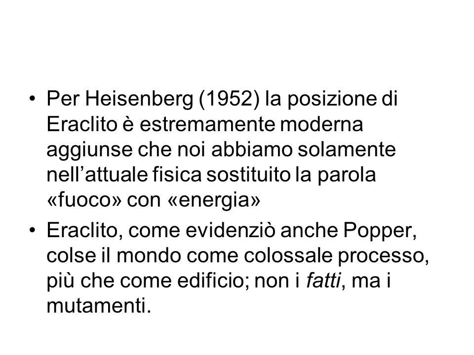 Per Heisenberg (1952) la posizione di Eraclito è estremamente moderna aggiunse che noi abbiamo solamente nell'attuale fisica sostituito la parola «fuo