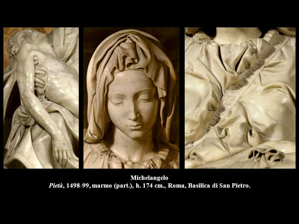 Michelangelo Pietà, 1498-99, marmo (part.), h. 174 cm., Roma, Basilica di San Pietro.