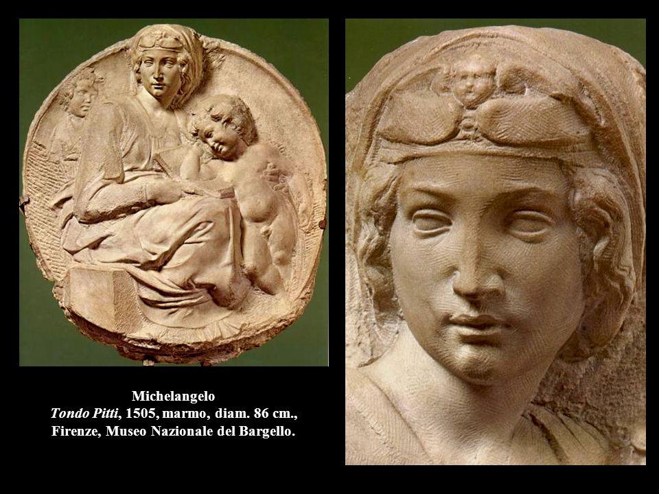 Michelangelo Tondo Pitti, 1505, marmo, diam. 86 cm., Firenze, Museo Nazionale del Bargello.