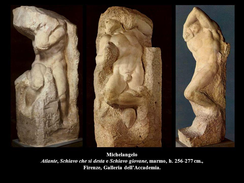 Michelangelo Atlante, Schiavo che si desta e Schiavo giovane, marmo, h. 256-277 cm., Firenze, Galleria dell'Accademia.