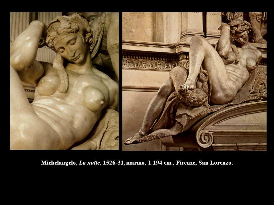 Michelangelo, La notte, 1526-31, marmo, l. 194 cm., Firenze, San Lorenzo.