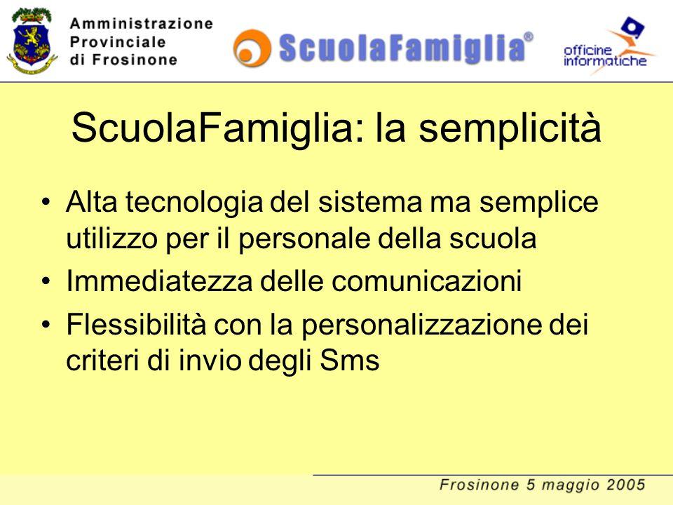 ScuolaFamiglia: la semplicità Alta tecnologia del sistema ma semplice utilizzo per il personale della scuola Immediatezza delle comunicazioni Flessibi