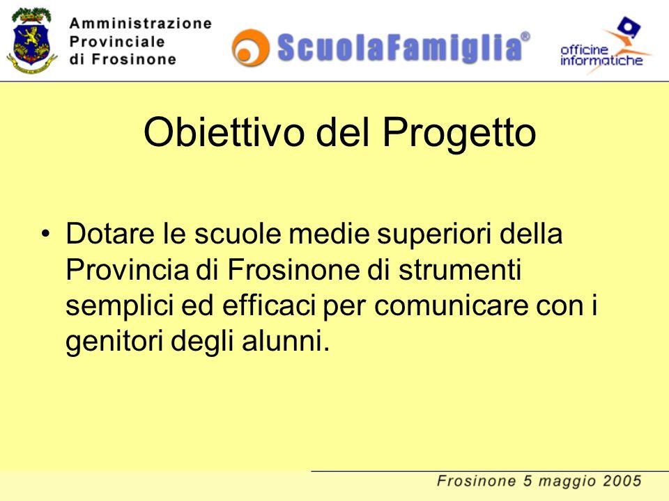 Obiettivo del Progetto Dotare le scuole medie superiori della Provincia di Frosinone di strumenti semplici ed efficaci per comunicare con i genitori d