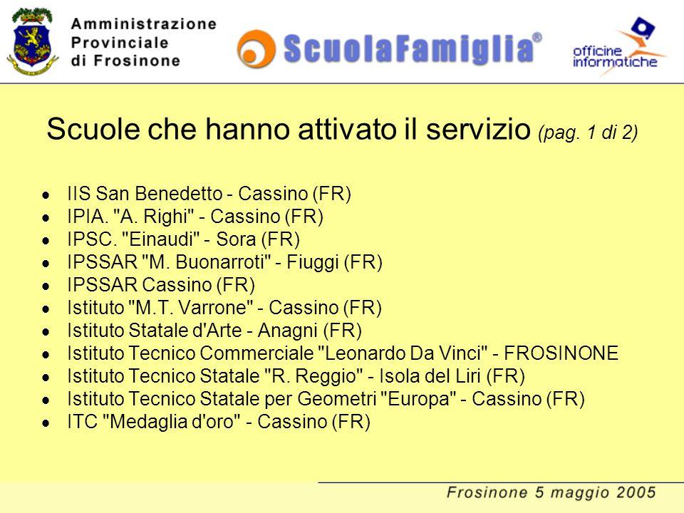 Scuole che hanno attivato il servizio (pag. 1 di 2)  IIS San Benedetto - Cassino (FR)  IPIA.