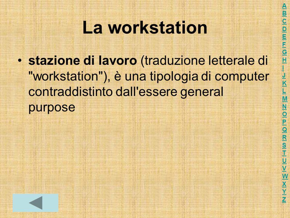 La workstation stazione di lavoro (traduzione letterale di workstation ), è una tipologia di computer contraddistinto dall essere general purpose ABCDEFGHIJKLMNOPQRSTUVWXYZABCDEFGHIJKLMNOPQRSTUVWXYZ