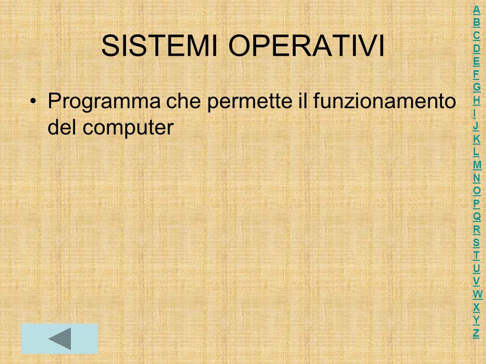 SISTEMI OPERATIVI Programma che permette il funzionamento del computer ABCDEFGHIJKLMNOPQRSTUVWXYZABCDEFGHIJKLMNOPQRSTUVWXYZ