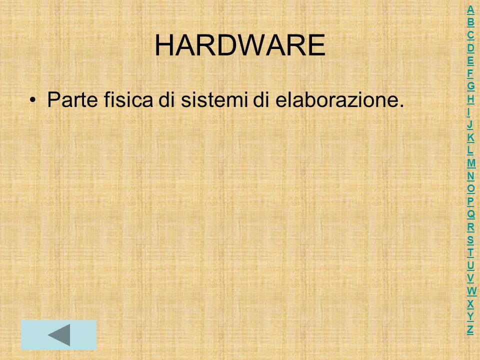 HARDWARE Parte fisica di sistemi di elaborazione.