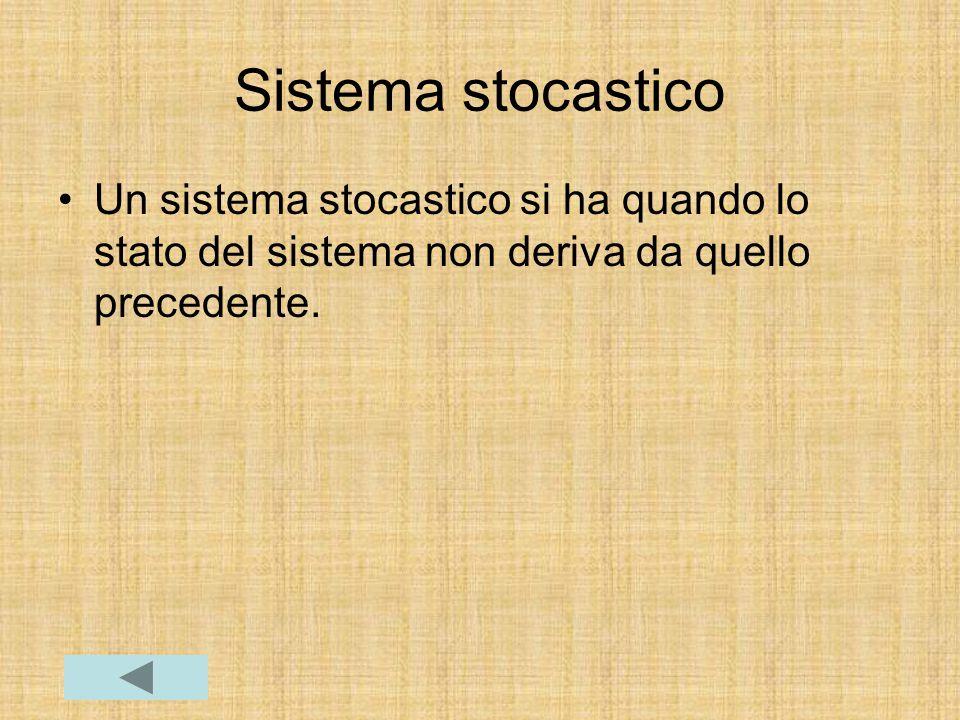 Sistema stocastico Un sistema stocastico si ha quando lo stato del sistema non deriva da quello precedente.