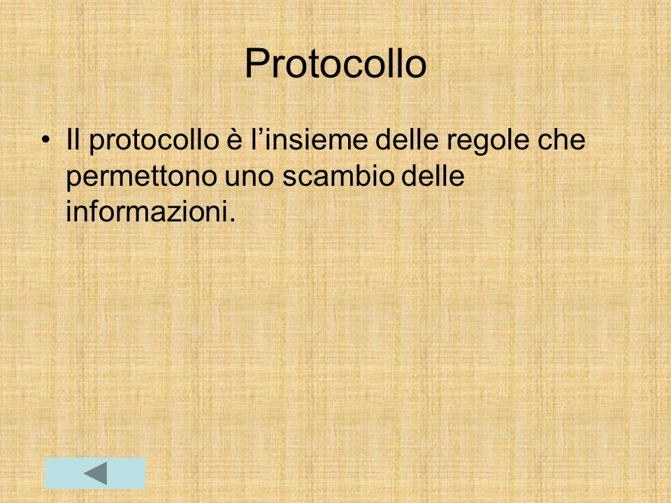 Protocollo Il protocollo è l'insieme delle regole che permettono uno scambio delle informazioni.