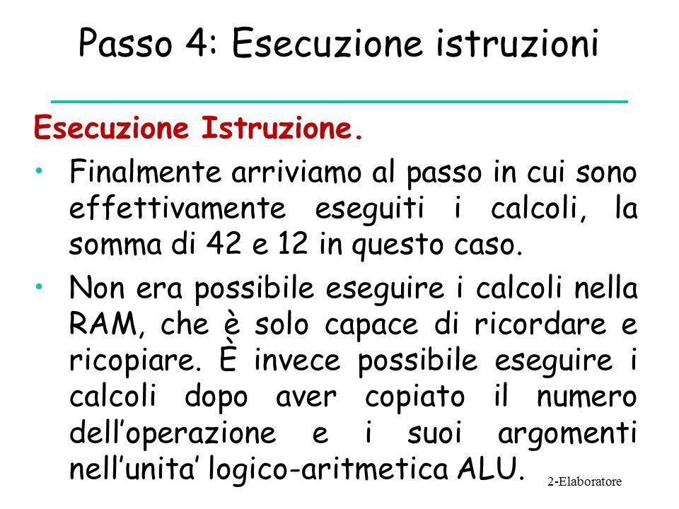 Passo 4: Esecuzione istruzioni Esecuzione Istruzione.