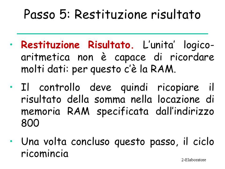 Passo 5: Restituzione risultato Restituzione Risultato.