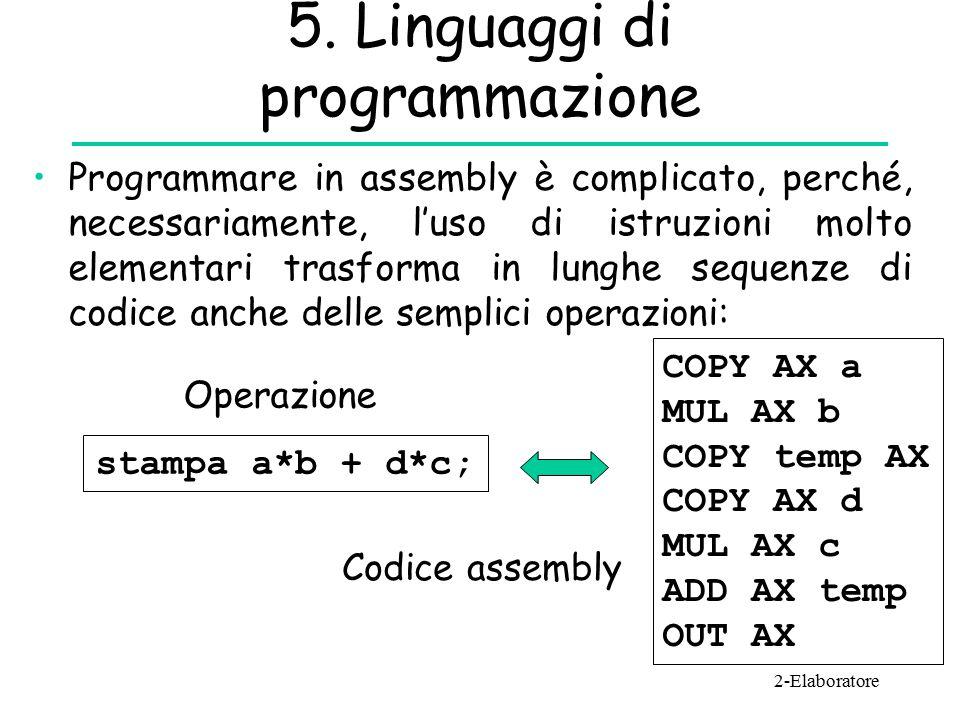 5. Linguaggi di programmazione Programmare in assembly è complicato, perché, necessariamente, l'uso di istruzioni molto elementari trasforma in lunghe